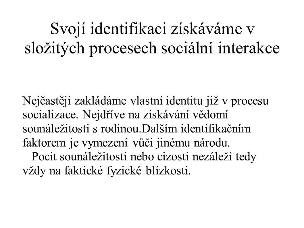 Svojí identifikaci získáváme v složitých procesech sociální interakce Nejčastěji zakládáme vlastní identitu již v procesu socializace. Nejdříve na zís