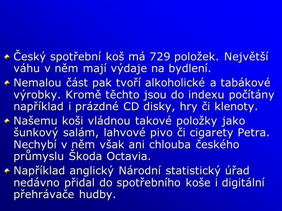 Český spotřební koš má 729 položek. Největší váhu v něm mají výdaje na bydlení. Nemalou část pak tvoří alkoholické a tabákové výrobky. Kromě těchto js