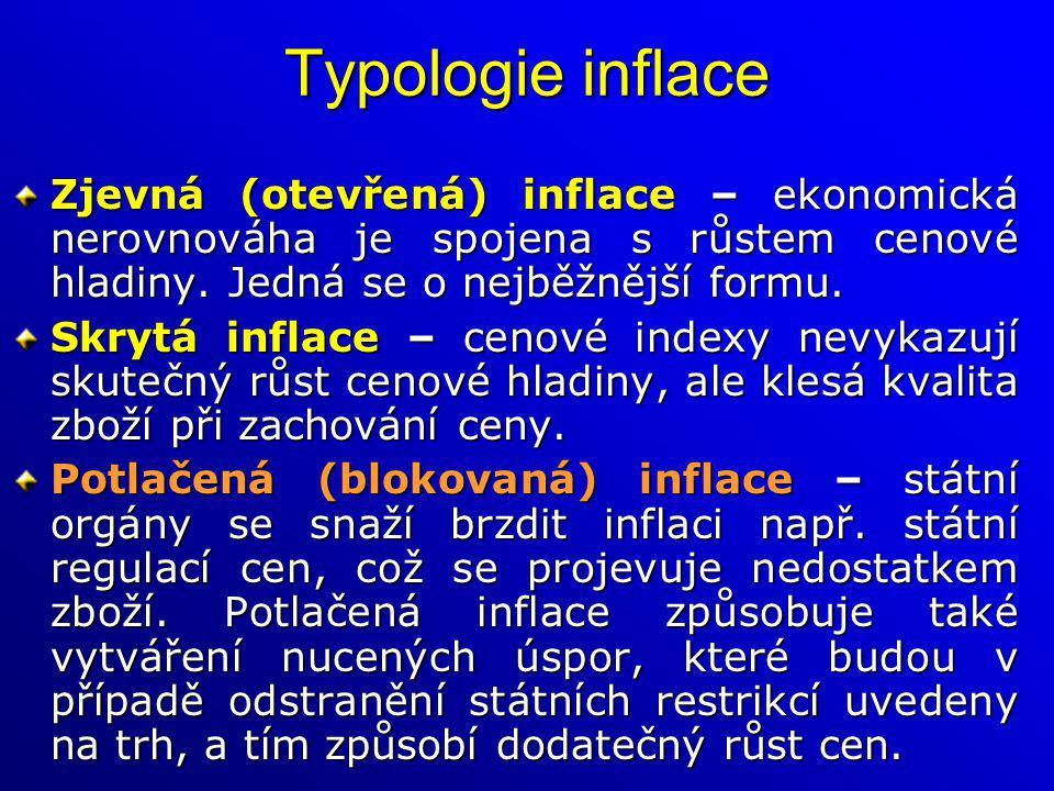 Typologie inflace Zjevná (otevřená) inflace – ekonomická nerovnováha je spojena s růstem cenové hladiny. Jedná se o nejběžnější formu. Skrytá inflace