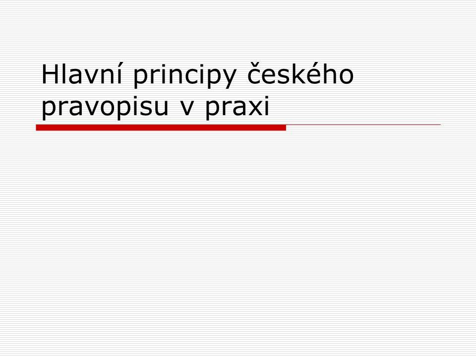 Hlavní principy českého pravopisu v praxi