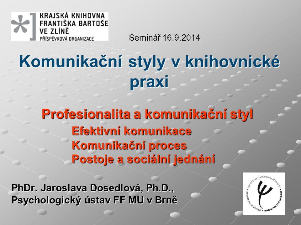 Komunikační styly v knihovnické praxi Profesionalita a komunikační styl Efektivní komunikace Komunikační proces Postoje a sociální jednání PhDr.