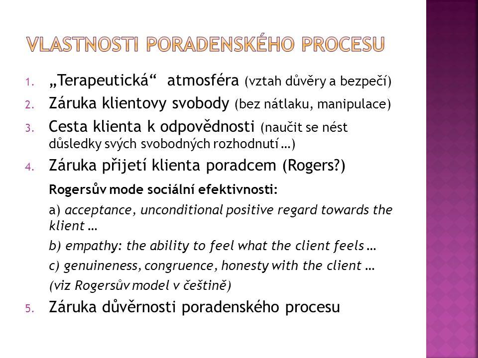 """1. """"Terapeutická"""" atmosféra (vztah důvěry a bezpečí) 2. Záruka klientovy svobody (bez nátlaku, manipulace) 3. Cesta klienta k odpovědnosti (naučit se"""