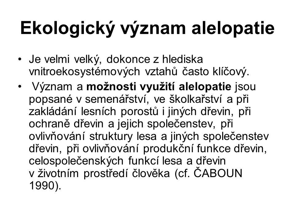 Ekologický význam alelopatie Je velmi velký, dokonce z hlediska vnitroekosystémových vztahů často klíčový. Význam a možnosti využití alelopatie jsou p
