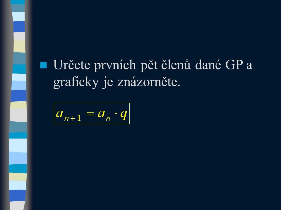 Určete prvních pět členů dané GP a graficky je znázorněte.