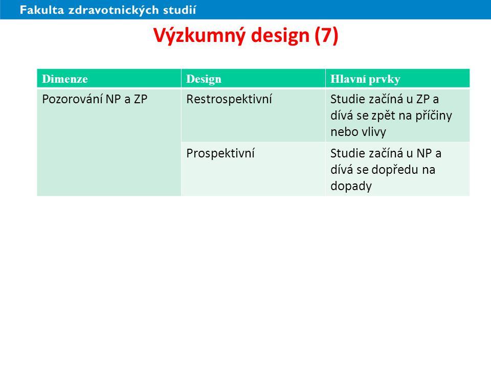 Výzkumný design (8) Observační studie (pozorování) –2.
