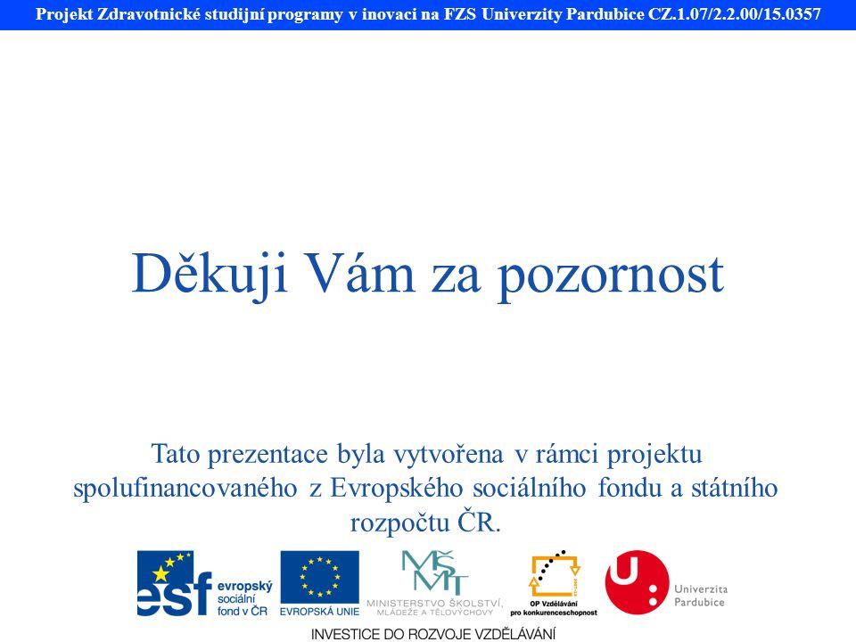 Projekt Zdravotnické studijní programy v inovaci na FZS Univerzity Pardubice CZ.1.07/2.2.00/15.0357 Děkuji Vám za pozornost Tato prezentace byla vytvořena v rámci projektu spolufinancovaného z Evropského sociálního fondu a státního rozpočtu ČR.