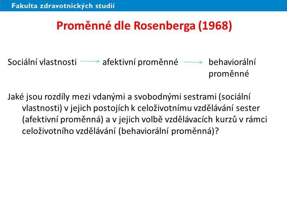 Proměnné dle Rosenberga (2) (1968) Rozdělení o sociální vlastnosti: kolik lidí patří do jednotlivých kategorií, např.