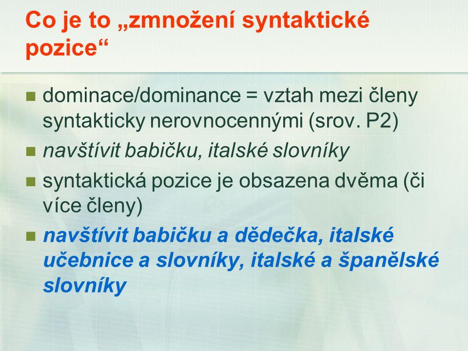 """Co je to """"zmnožení syntaktické pozice dominace/dominance = vztah mezi členy syntakticky nerovnocennými (srov."""