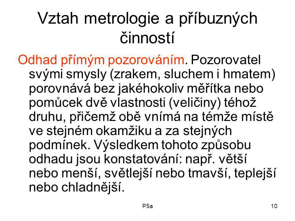 P5a10 Vztah metrologie a příbuzných činností Odhad přímým pozorováním.