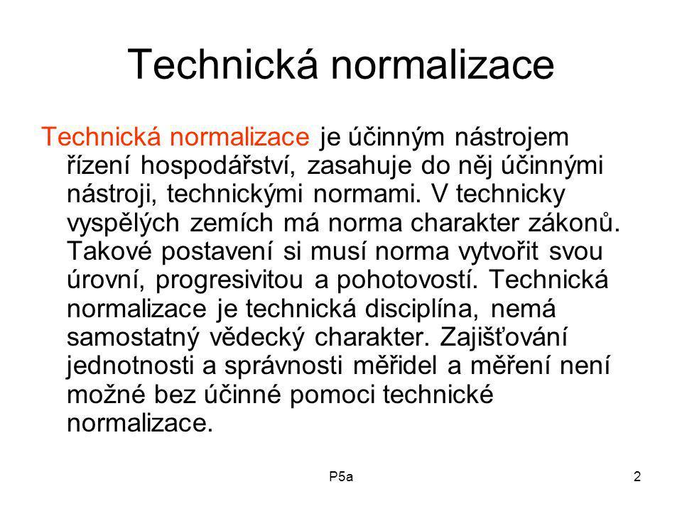 P5a2 Technická normalizace Technická normalizace je účinným nástrojem řízení hospodářství, zasahuje do něj účinnými nástroji, technickými normami.