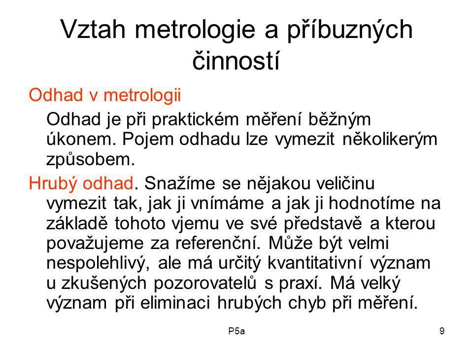 P5a9 Vztah metrologie a příbuzných činností Odhad v metrologii Odhad je při praktickém měření běžným úkonem.
