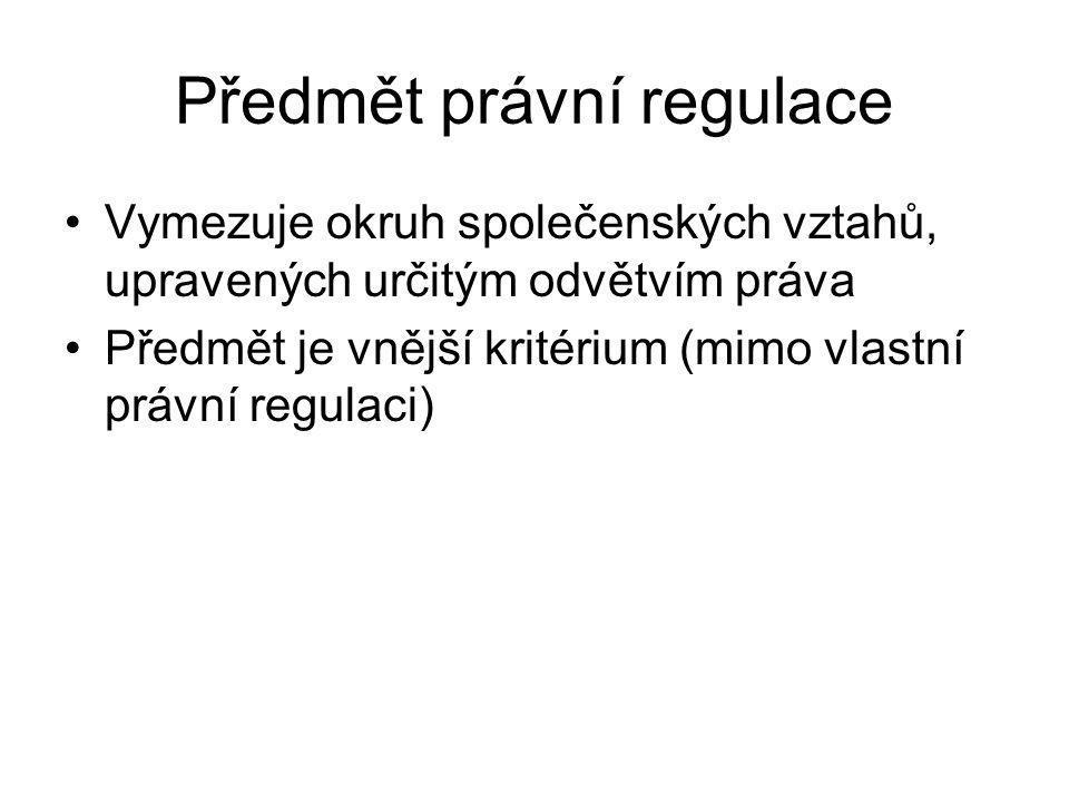 Předmět právní regulace Vymezuje okruh společenských vztahů, upravených určitým odvětvím práva Předmět je vnější kritérium (mimo vlastní právní regula