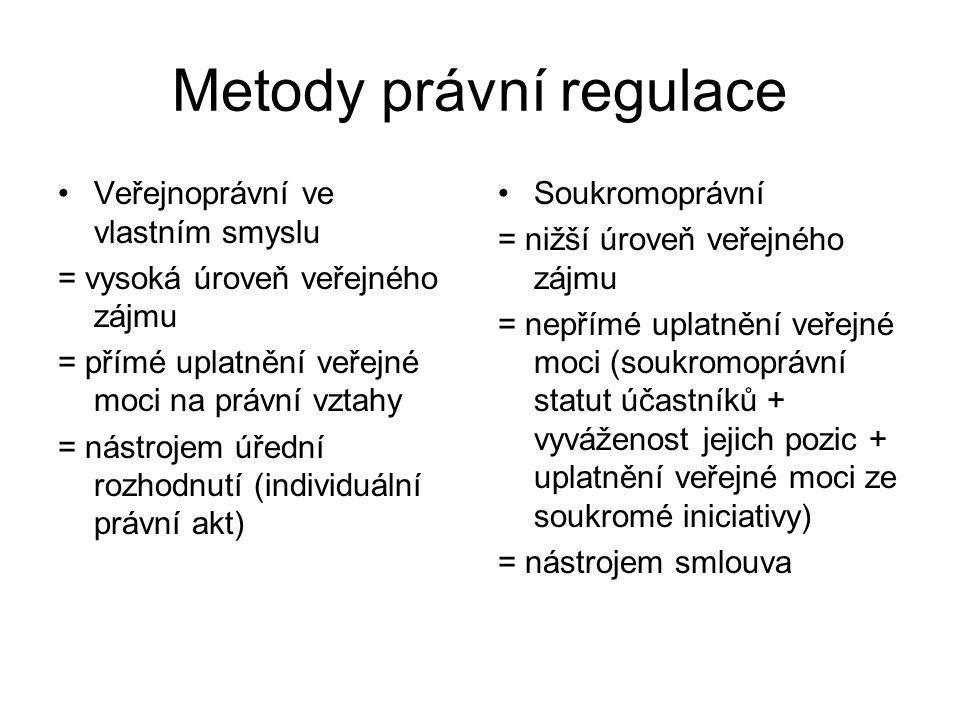 Metody právní regulace Veřejnoprávní ve vlastním smyslu = vysoká úroveň veřejného zájmu = přímé uplatnění veřejné moci na právní vztahy = nástrojem úř