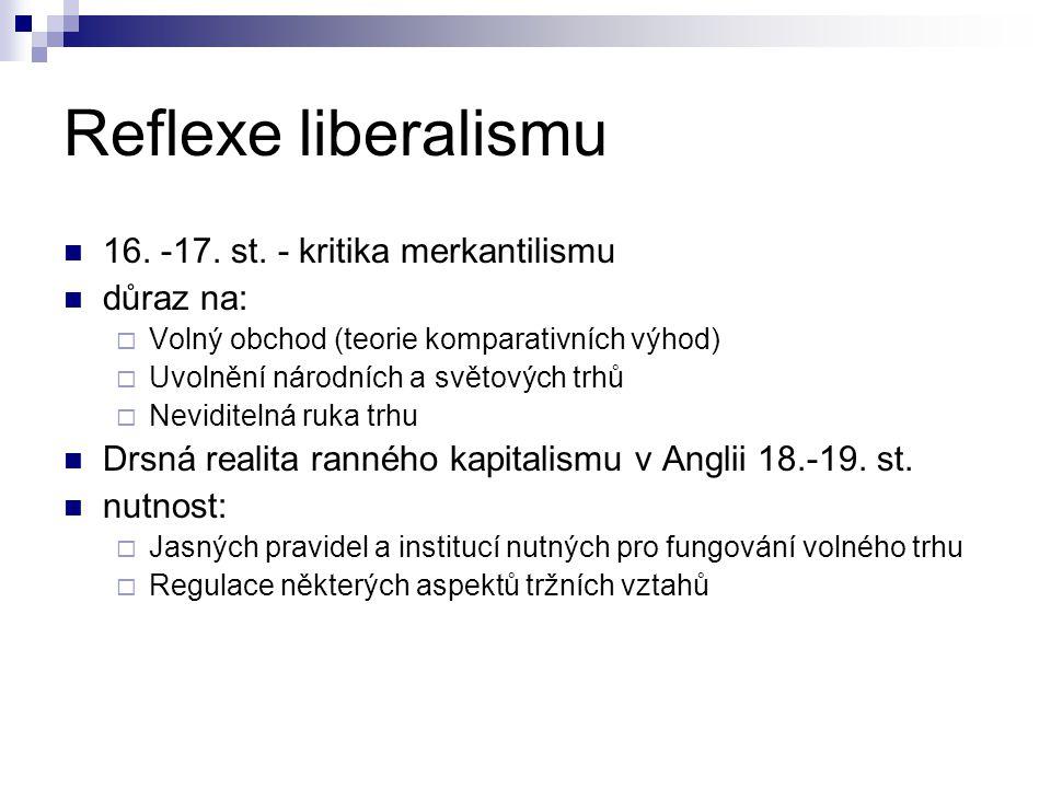 Reflexe liberalismu 16. -17. st. - kritika merkantilismu důraz na:  Volný obchod (teorie komparativních výhod)  Uvolnění národních a světových trhů