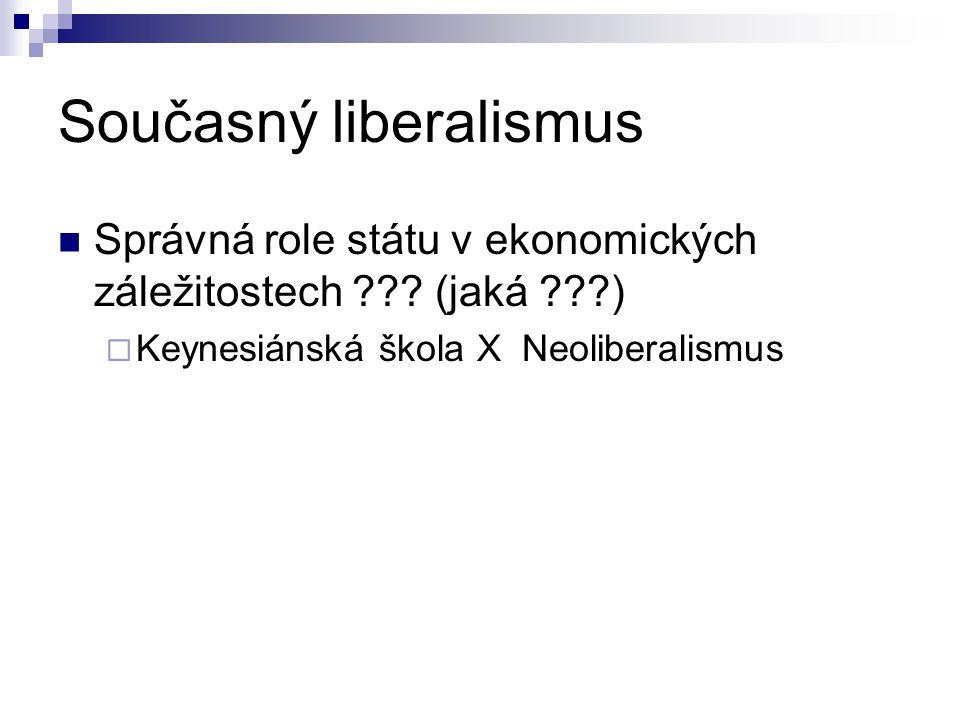 Současný liberalismus Správná role státu v ekonomických záležitostech ??? (jaká ???)  Keynesiánská škola X Neoliberalismus