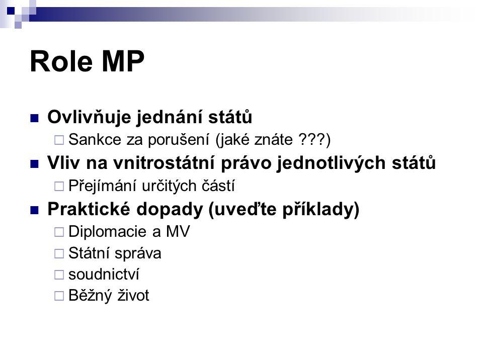 Role MP Ovlivňuje jednání států  Sankce za porušení (jaké znáte ???) Vliv na vnitrostátní právo jednotlivých států  Přejímání určitých částí Praktic