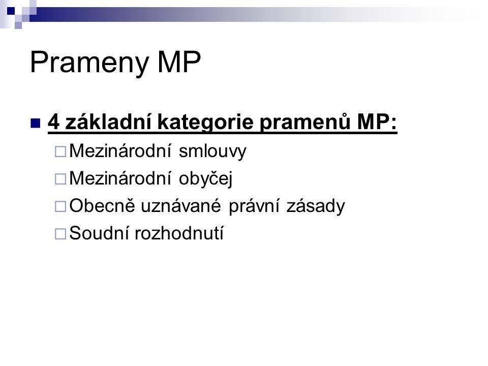 Prameny MP 4 základní kategorie pramenů MP:  Mezinárodní smlouvy  Mezinárodní obyčej  Obecně uznávané právní zásady  Soudní rozhodnutí