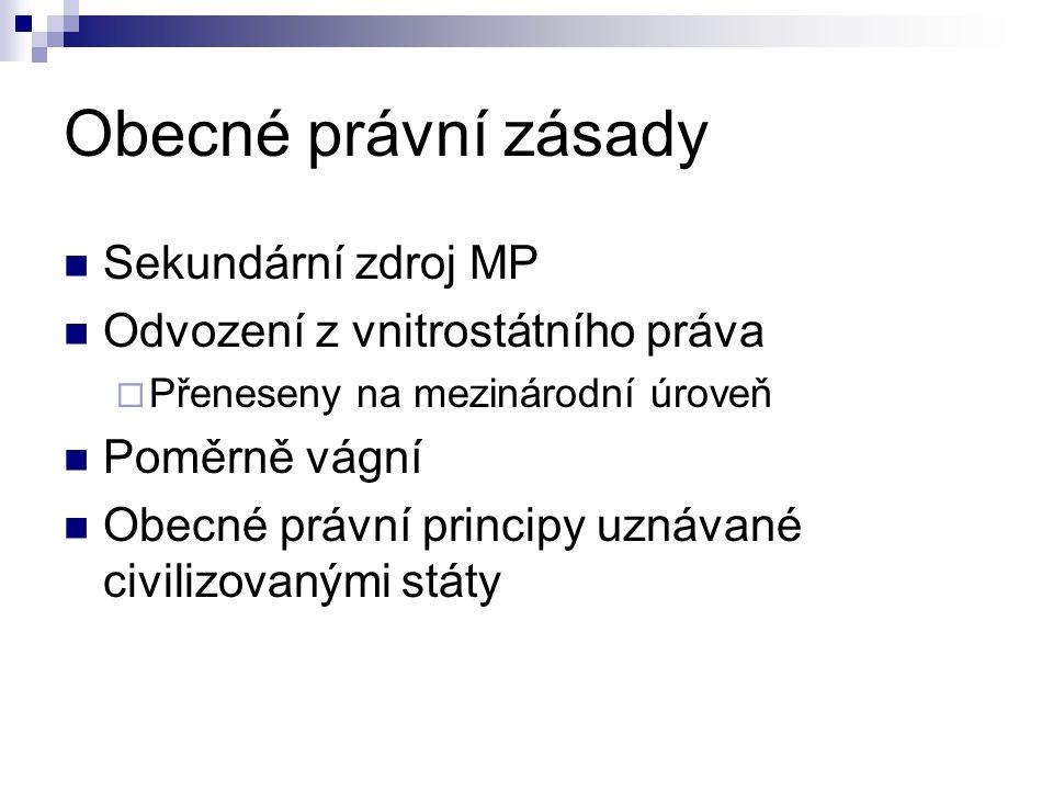 Obecné právní zásady Sekundární zdroj MP Odvození z vnitrostátního práva  Přeneseny na mezinárodní úroveň Poměrně vágní Obecné právní principy uznáva