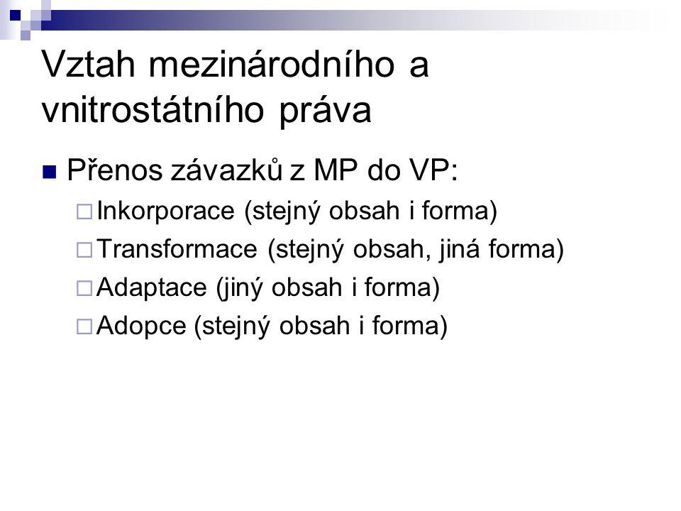 Vztah mezinárodního a vnitrostátního práva Přenos závazků z MP do VP:  Inkorporace (stejný obsah i forma)  Transformace (stejný obsah, jiná forma) 