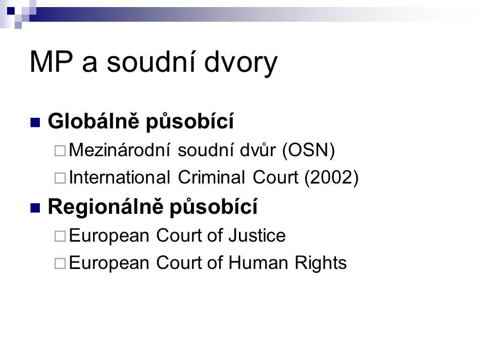 MP a soudní dvory Globálně působící  Mezinárodní soudní dvůr (OSN)  International Criminal Court (2002) Regionálně působící  European Court of Just