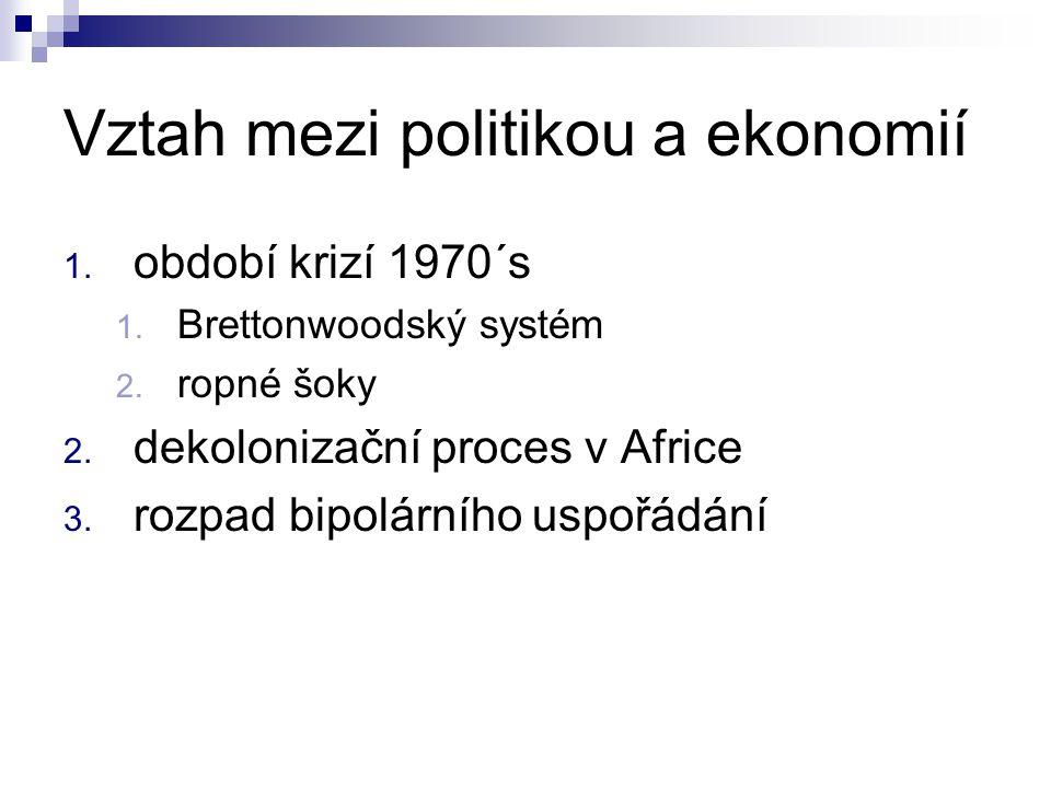 Vztah mezi politikou a ekonomií 1. období krizí 1970´s 1. Brettonwoodský systém 2. ropné šoky 2. dekolonizační proces v Africe 3. rozpad bipolárního u