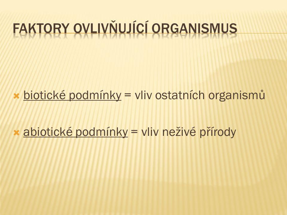  biotické podmínky = vliv ostatních organismů  abiotické podmínky = vliv neživé přírody