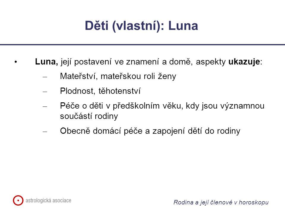 Rodina a její členové v horoskopu Děti (vlastní): Luna Luna, její postavení ve znamení a domě, aspekty ukazuje: – Mateřství, mateřskou roli ženy – Plo
