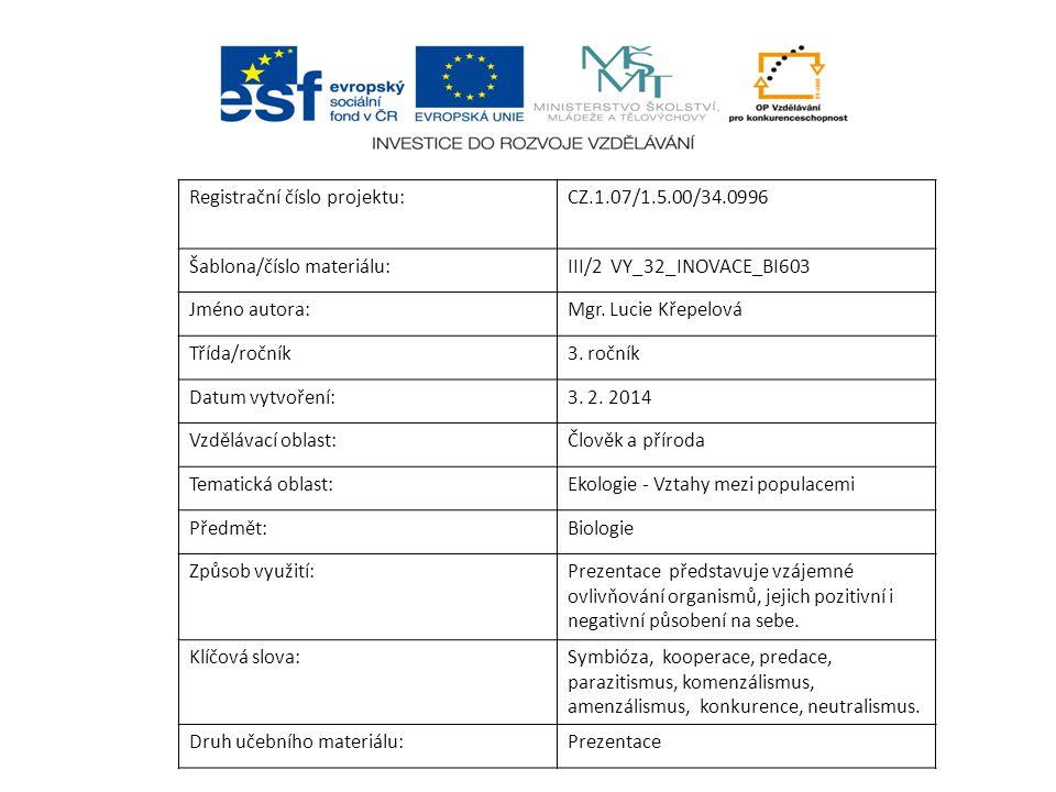 Registrační číslo projektu:CZ.1.07/1.5.00/34.0996 Šablona/číslo materiálu:III/2 VY_32_INOVACE_BI603 Jméno autora:Mgr. Lucie Křepelová Třída/ročník3. r
