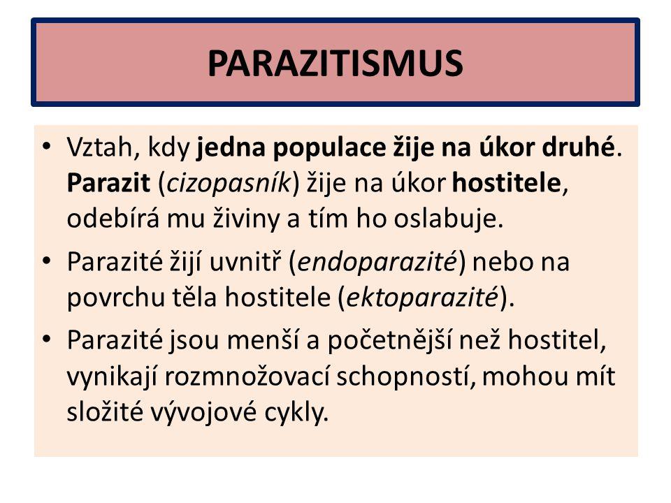 PARAZITISMUS Vztah, kdy jedna populace žije na úkor druhé. Parazit (cizopasník) žije na úkor hostitele, odebírá mu živiny a tím ho oslabuje. Parazité