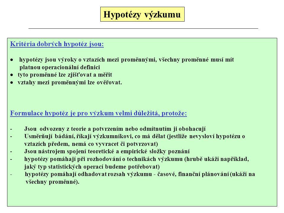 Hypotézy výzkumu Kritéria dobrých hypotéz jsou:  hypotézy jsou výroky o vztazích mezi proměnnými, všechny proměnné musí mít platnou operacionální def