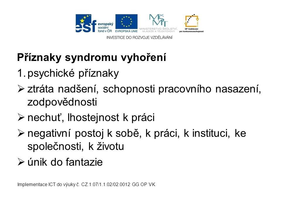 Příznaky syndromu vyhoření 1.psychické příznaky  ztráta nadšení, schopnosti pracovního nasazení, zodpovědnosti  nechuť, lhostejnost k práci  negati