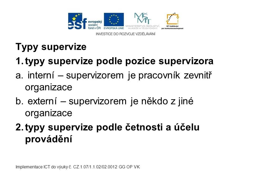 Typy supervize 1.typy supervize podle pozice supervizora a. interní – supervizorem je pracovník zevnitř organizace b. externí – supervizorem je někdo