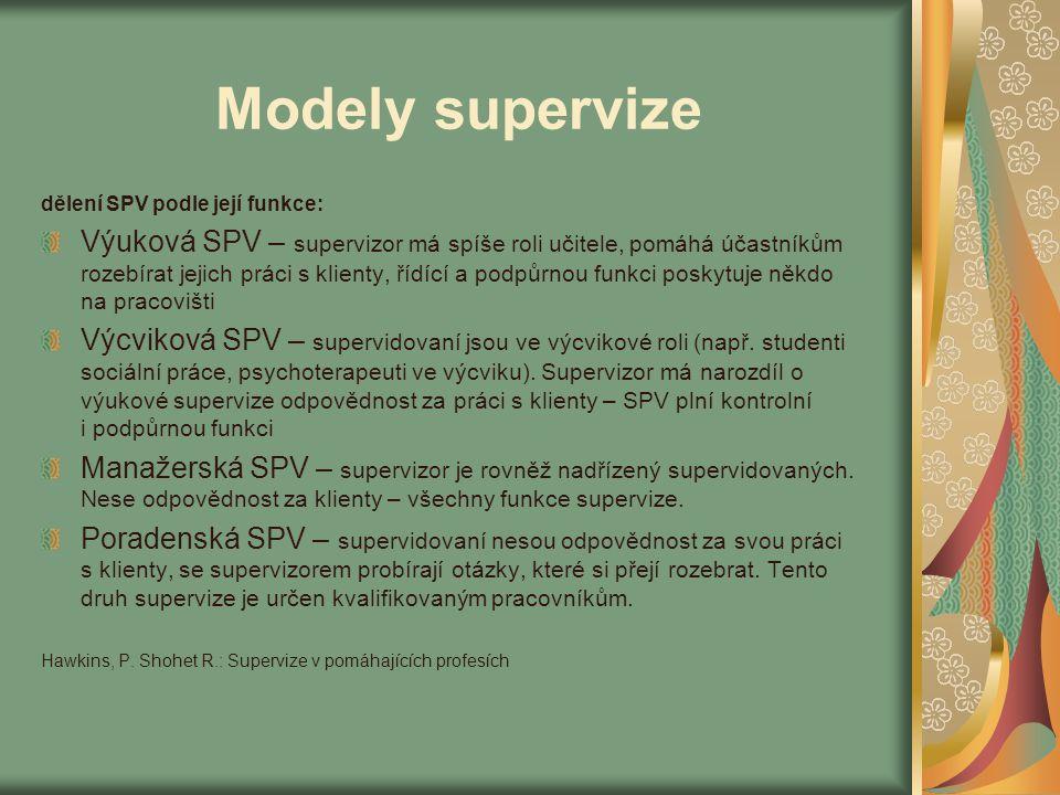 Modely supervize dělení SPV podle její funkce: Výuková SPV – supervizor má spíše roli učitele, pomáhá účastníkům rozebírat jejich práci s klienty, říd