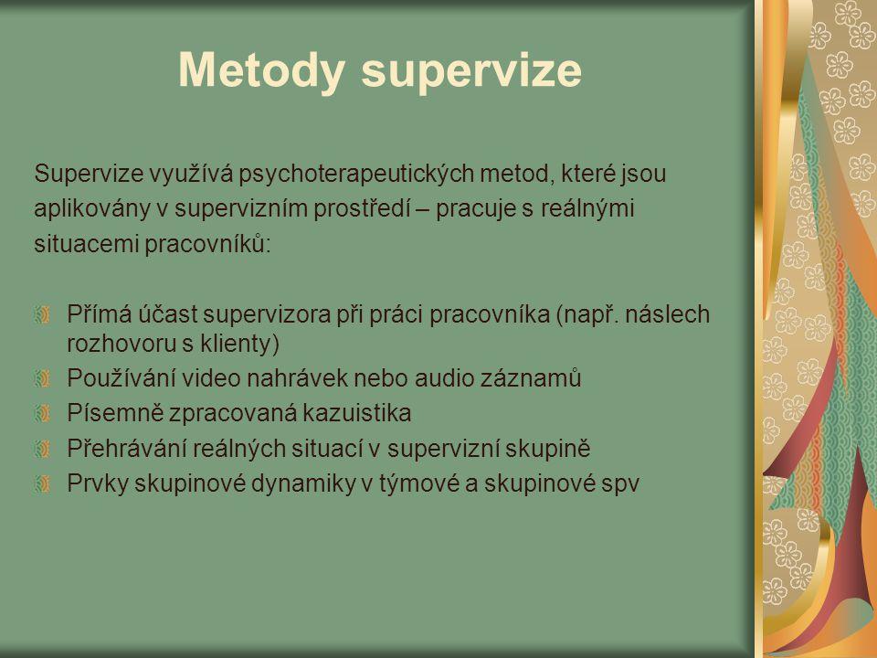 Metody supervize Supervize využívá psychoterapeutických metod, které jsou aplikovány v supervizním prostředí – pracuje s reálnými situacemi pracovníků