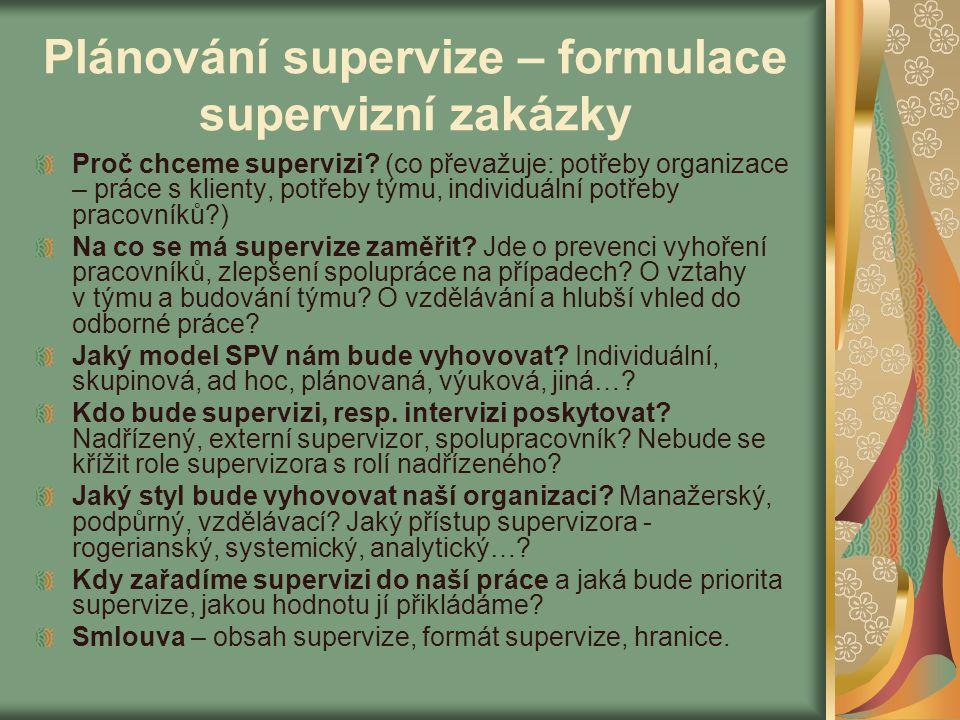 Plánování supervize – formulace supervizní zakázky Proč chceme supervizi? (co převažuje: potřeby organizace – práce s klienty, potřeby týmu, individuá