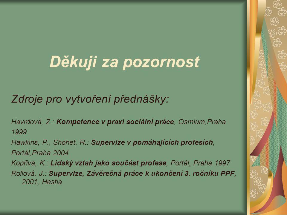 Děkuji za pozornost Zdroje pro vytvoření přednášky: Havrdová, Z.: Kompetence v praxi sociální práce, Osmium,Praha 1999 Hawkins, P., Shohet, R.: Superv