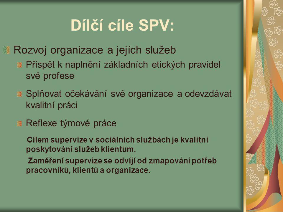Dílčí cíle SPV: Rozvoj organizace a jejích služeb Přispět k naplnění základních etických pravidel své profese Splňovat očekávání své organizace a odev