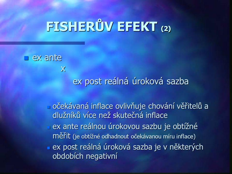 FISHEROVA TEORIE ÚROKOVÝCH SAZEB n TEORIE ÚROKOVÝCH SAZEB I.