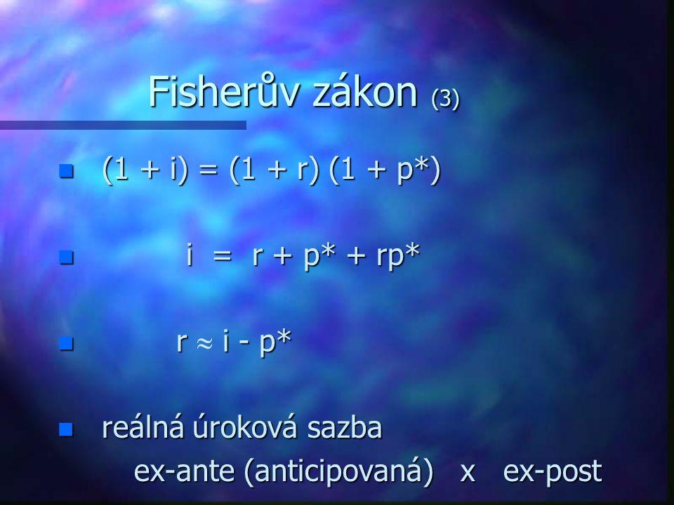 Fisherův zákon (3) n (1 + i) = (1 + r) (1 + p*) n i = r + p* + rp* r i - p* r  i - p* n reálná úroková sazba ex-ante (anticipovaná) x ex-post ex-ante (anticipovaná) x ex-post