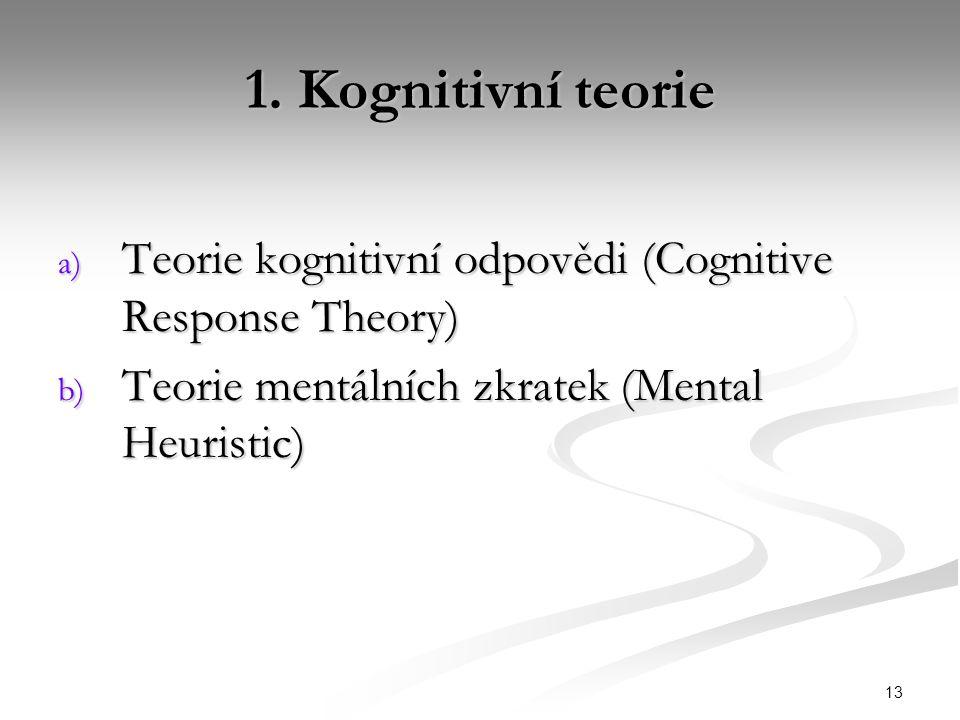 13 1. Kognitivní teorie a) Teorie kognitivní odpovědi (Cognitive Response Theory) b) Teorie mentálních zkratek (Mental Heuristic)