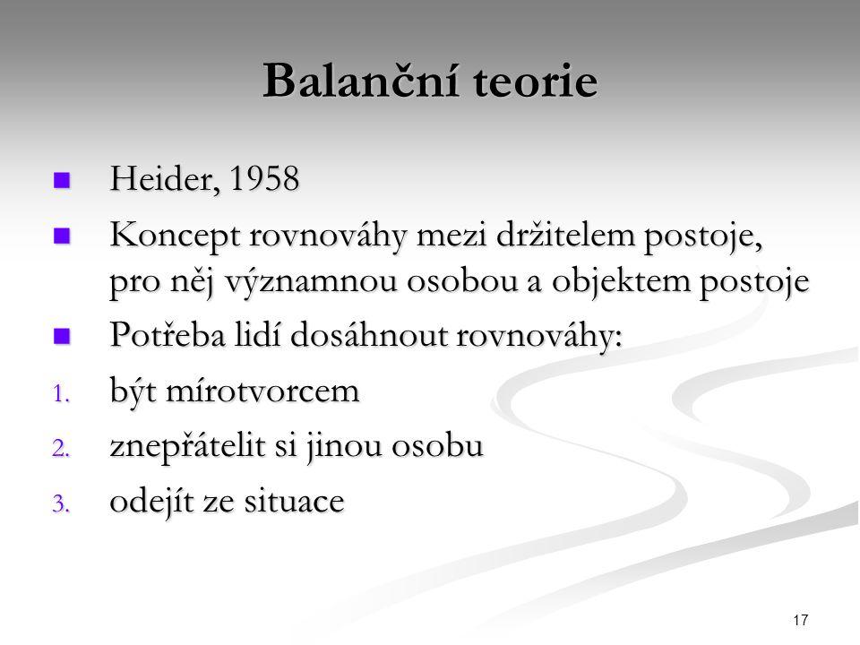 17 Balanční teorie Heider, 1958 Heider, 1958 Koncept rovnováhy mezi držitelem postoje, pro něj významnou osobou a objektem postoje Koncept rovnováhy m