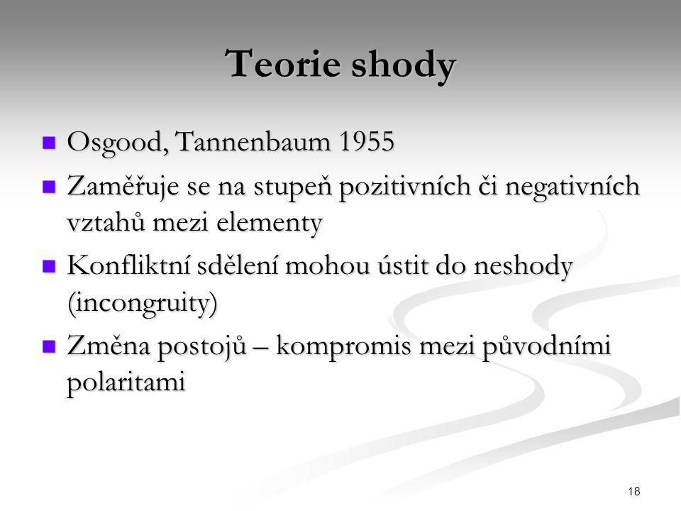 18 Teorie shody Osgood, Tannenbaum 1955 Osgood, Tannenbaum 1955 Zaměřuje se na stupeň pozitivních či negativních vztahů mezi elementy Zaměřuje se na s