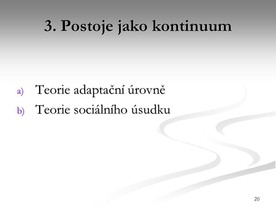 20 3. Postoje jako kontinuum a) Teorie adaptační úrovně b) Teorie sociálního úsudku