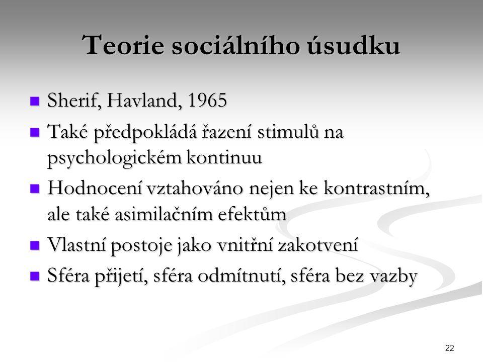 22 Teorie sociálního úsudku Sherif, Havland, 1965 Sherif, Havland, 1965 Také předpokládá řazení stimulů na psychologickém kontinuu Také předpokládá řa