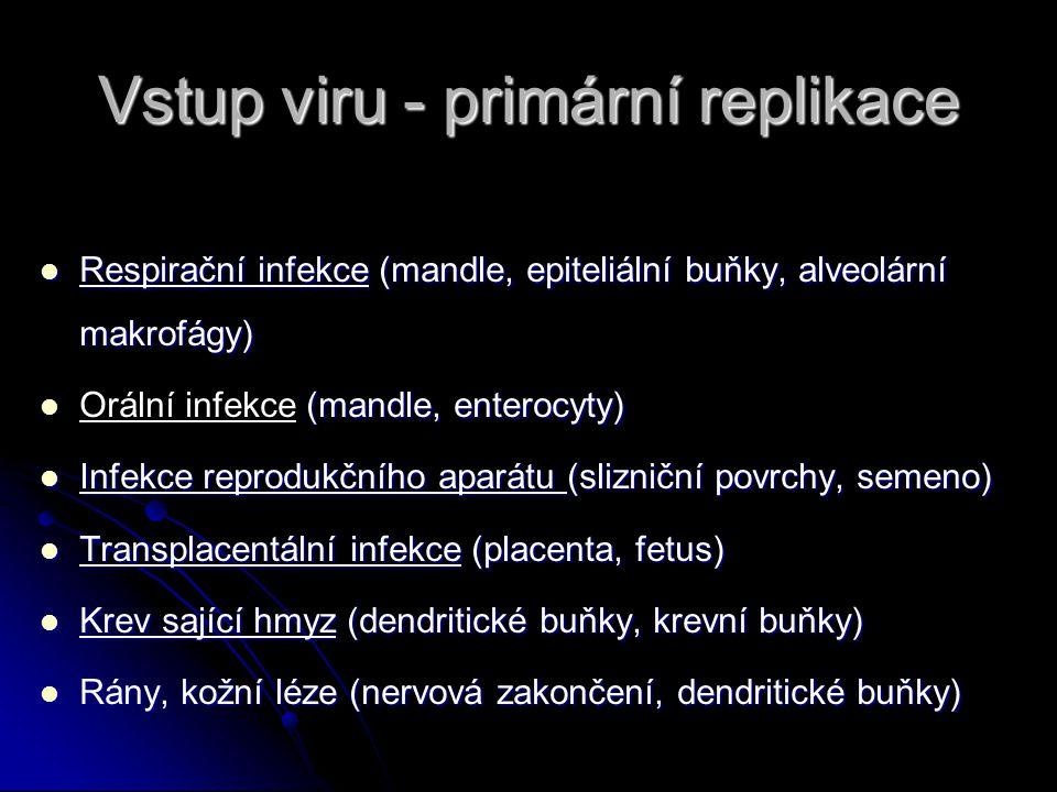 Vstup viru - primární replikace Respirační infekce (mandle, epiteliální buňky, alveolární makrofágy) Respirační infekce (mandle, epiteliální buňky, alveolární makrofágy) (mandle, enterocyty) Orální infekce (mandle, enterocyty) Infekce reprodukčního aparátu (slizniční povrchy, semeno) Infekce reprodukčního aparátu (slizniční povrchy, semeno) Transplacentální infekce (placenta, fetus) Transplacentální infekce (placenta, fetus) Krev sající hmyz (dendritické buňky, krevní buňky) Krev sající hmyz (dendritické buňky, krevní buňky) Rány, kožní léze (nervová zakončení, dendritické buňky) Rány, kožní léze (nervová zakončení, dendritické buňky)