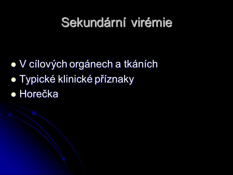 Sekundární virémie V cílových orgánech a tkáních V cílových orgánech a tkáních Typické klinické příznaky Typické klinické příznaky Horečka Horečka