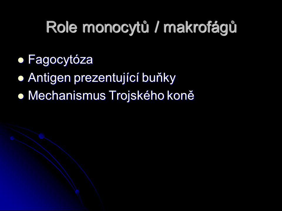 Role monocytů / makrofágů Fagocytóza Fagocytóza Antigen prezentující buňky Antigen prezentující buňky Mechanismus Trojského koně Mechanismus Trojského koně