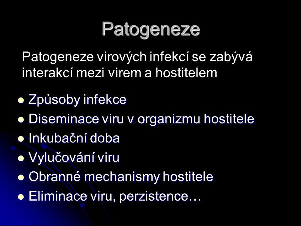 Patogeneze Způsoby infekce Způsoby infekce Diseminace viru v organizmu hostitele Diseminace viru v organizmu hostitele Inkubační doba Inkubační doba Vylučování viru Vylučování viru Obranné mechanismy hostitele Obranné mechanismy hostitele Eliminace viru, perzistence… Eliminace viru, perzistence… Patogeneze virových infekcí se zabývá interakcí mezi virem a hostitelem
