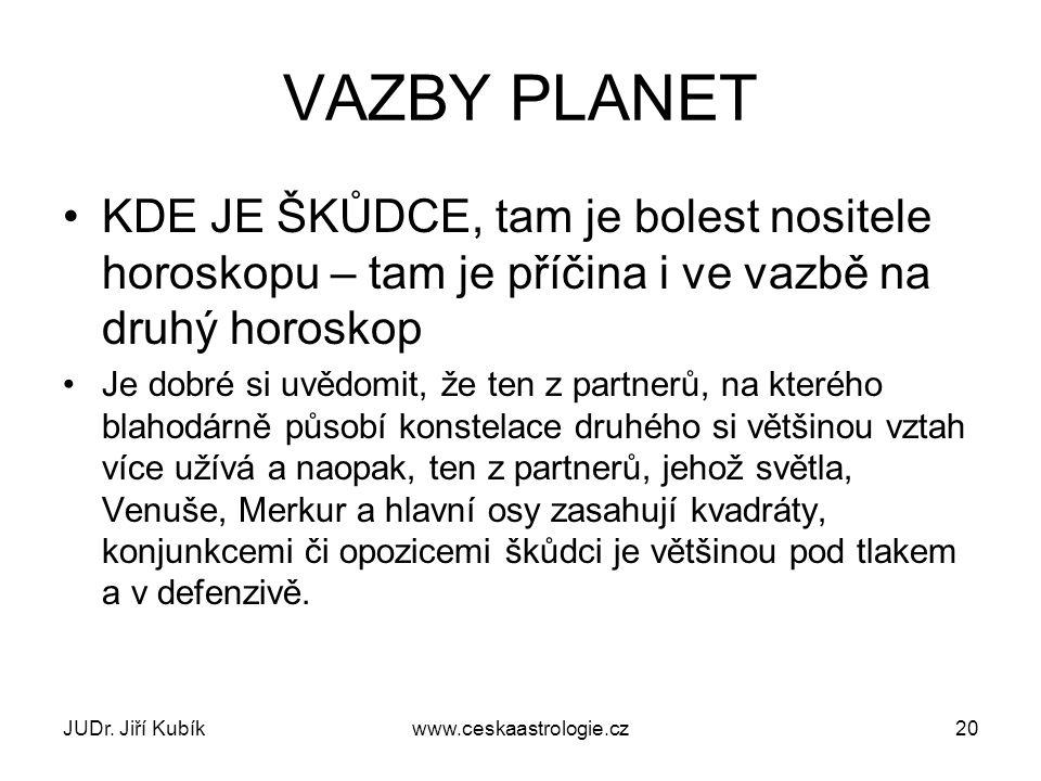 JUDr. Jiří Kubíkwww.ceskaastrologie.cz20 VAZBY PLANET KDE JE ŠKŮDCE, tam je bolest nositele horoskopu – tam je příčina i ve vazbě na druhý horoskop Je