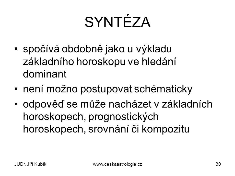 JUDr. Jiří Kubíkwww.ceskaastrologie.cz30 SYNTÉZA spočívá obdobně jako u výkladu základního horoskopu ve hledání dominant není možno postupovat schémat